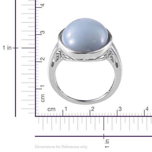 Peruvian Blue Opal (Ovl) Ring in Platinum Overlay Sterling Silver 15.000 Ct.