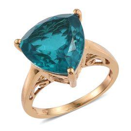 Capri Blue Quartz (Trl) Ring in 14K Gold Overlay Sterling Silver 11.500 Ct.