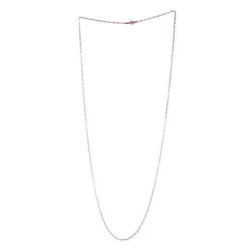 Rose Gold Overlay Sterling Silver Diamond Cut Rolo Chain (Size 30)