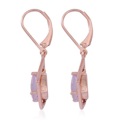 Rose De France Amethyst (Pear) Lever Back Earrings in Rose Gold Overlay Sterling Silver 3.000 Ct.