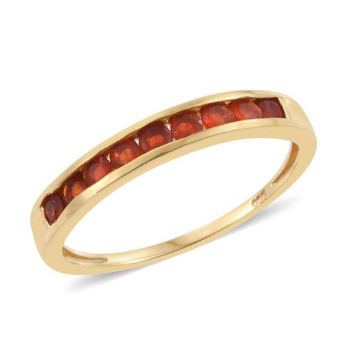 Jalisco Fire Opal (Rnd) Half Eternity Band Ring in 14K Gold Overlay Sterling Silver 0.500 Ct.