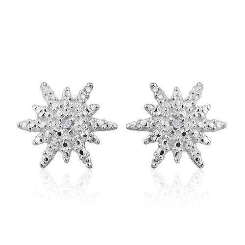 Diamond (Rnd) Starburst Stud Earrings (with Push Back) in Platinum Overlay Sterling Silver