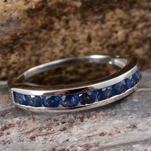 9K W Gold Kanchanaburi Blue Sapphire (Rnd) Half Eternity Band Ring 1.000 Ct.
