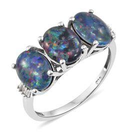 Australian Boulder Opal (Ovl), Diamond Ring in Platinum Overlay Sterling Silver 4.000 Ct.