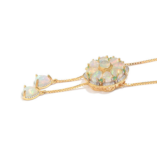 GP Ethiopian Welo Opal (Rnd), Kagem Zambian Emerald and Kanchanaburi Blue Sapphire Floral Necklace (Size 18) in 14K Gold Overlay Sterling Silver 3.500 Ct. Silver wt 6.94 Gms.