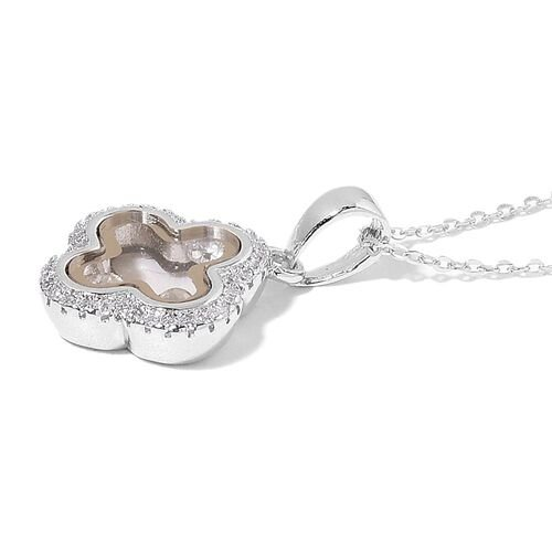 Designer Inspired-ELANZA AAA Simulated White Diamond Pendant with Chain in Rhodium Plated Sterling Silver