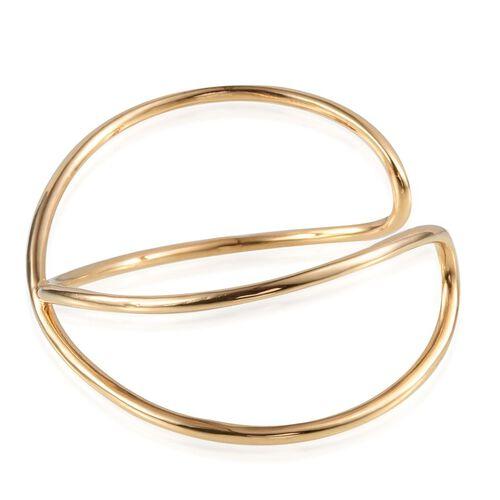ION Plated 18K Yellow Gold Bond Cuff Bangle (Size 7.5)