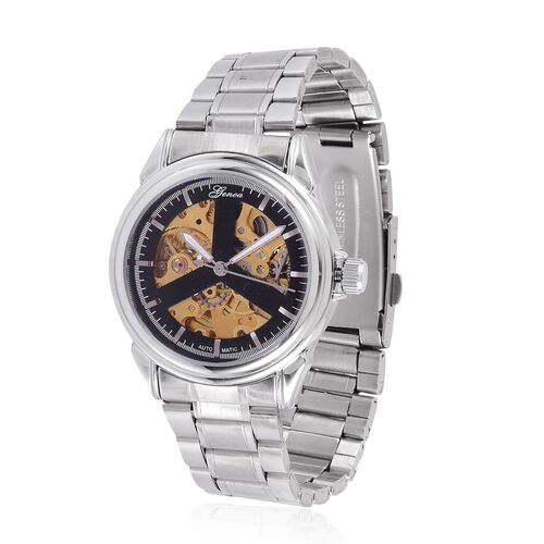 GENOA Automatic Skeleton Black and Golden Colour Dial Water Resistant Watch in Silver Tone with Stainless Steel Back and Chain Strap