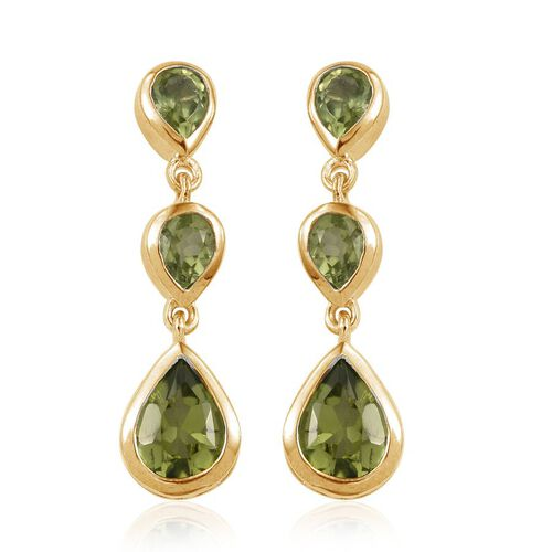 AA Hebei Peridot (Pear) Earrings (with Push Back) in 14K Gold Overlay Sterling Silver 3.250 Ct.