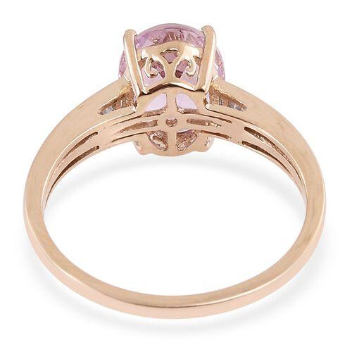 9K Y Gold Urucum Kunzite (Ovl 3.35 Ct), Diamond Ring 3.500 Ct.