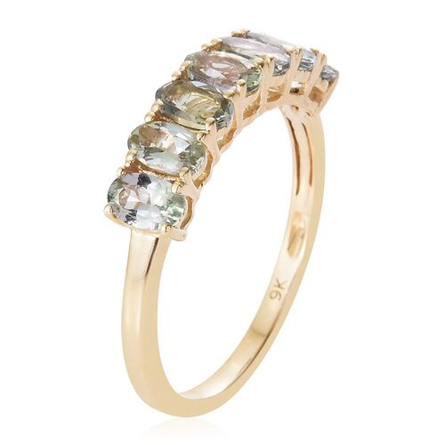 9K Yellow Gold 1.50 Carat AA Green Tanzanite 7 Stone Ring