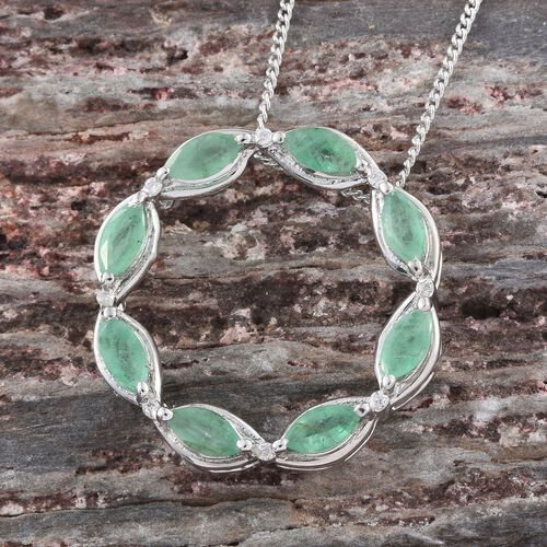 Kagem Zambian Emerald (Mrq), Natural Cambodian Zircon Circle of Life Pendant with Chain in Platinum Overlay Sterling Silver 1.040 Ct.