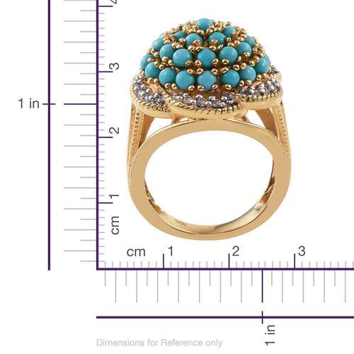 AA Sleeping Beauty Turquoise and Natural Cambodian Zircon 3 Carat Silver Floral Cluster Ring in Gold Overlay