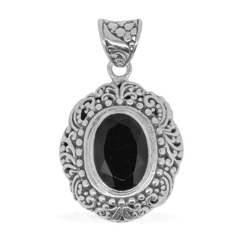 Royal Bali Collection Boi Ploi Black Spinel (Ovl) Solitaire Pendant in Sterling Silver 7.266 Ct. Silver wt. 6.00 Gms.