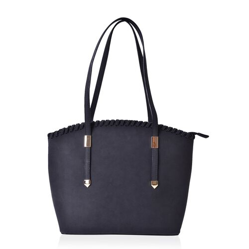 Black Colour Tote Bag with External Zipper Pocket (Size 37x28x27x11 Cm)