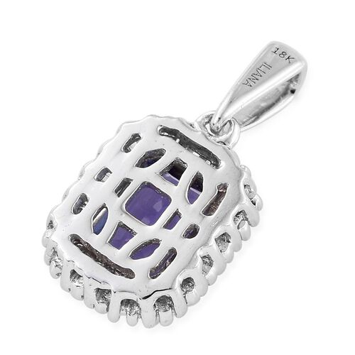 ILIANA 18K W Gold AAA Tanzanite (Oct 1.17 Ct), Diamond Pendant 1.350 Ct.