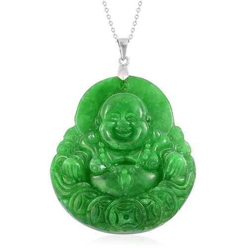 Exclusive Edition- Rare AAA Hand Carved Green Jade Laughing Buddha Pendant with Chain (30 Inch) in Sterling Silver 108.000 Ct. Silver wt 5.20 Gms.