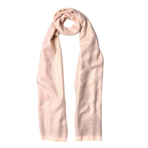 Leaves and Floral Pattern Light Peach Colour Scarf with Fringes (Size 180x70 Cm)