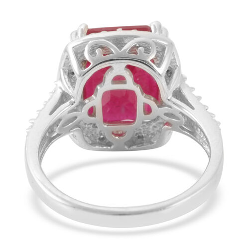 African Ruby (Oct 6.45 Ct), White Sapphire Ring in Rhodium Plated Sterling Silver 6.500 Ct.
