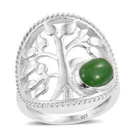 Designer Inspired-Green Jade (Ovl) Tree of Life Ring in Sterling Silver, Silver wt 4.43 Gms.
