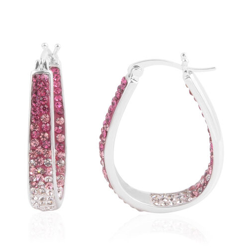 Close Out Deal Pink and White Austrian Crystal Hoop Earrings (with Clasp) in Silver Bond