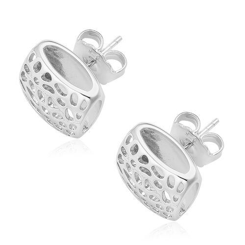 RACHEL GALLEY Rhodium Plated Sterling Silver Memento Diamond Earrings (with Push Back), Silver wt. 6.75 Gms.