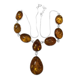 Signature Collection- Baltic Amber (Ovl & Pear) Necklace (18 inch with 2 inch Extender) in Sterling Silver with Lobster Lock 90.00 Ct. 34.20grams.