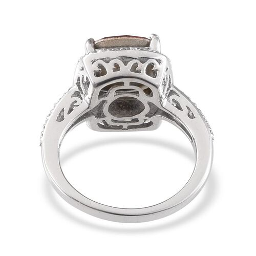 Crystal from Swarovski - Light Siam Crystal (Cush) Solitaire Ring in Platinum Overlay Sterling Silver