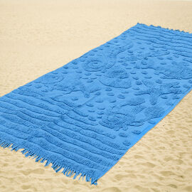100% Cotton Tufted Aquarium Blue Outdoor Rug with Fringes on Both Ends (Size 175x80 Cm)