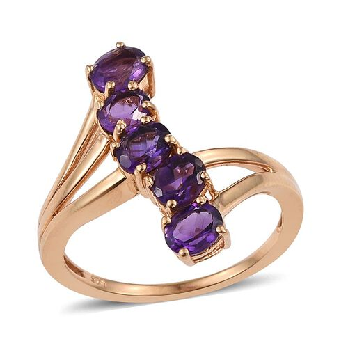 Amethyst (Ovl) 5 Stone Crossover Ring in 14K Gold Overlay Sterling Silver 1.750 Ct.
