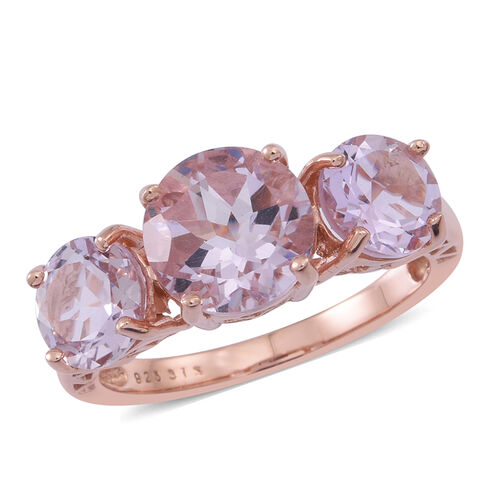 Rose De France Amethyst (Rnd 2.50 Ct) 3 Stone Ring in 14K Rose Gold Overlay Sterling Silver 5.000 Ct.