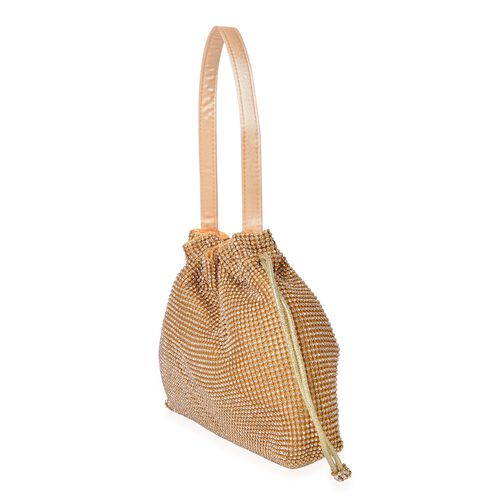 Designer Inspired -White Austrian Crystal Embellished Golden Tote Bag (Size 23X19.5X4 Cm)
