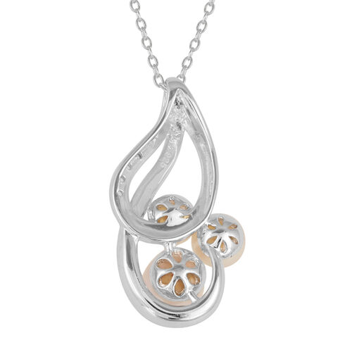 Japanese Akoya Pearl (Rnd), White Topaz Pendant With Chain in Platinum Overlay Sterling Silver
