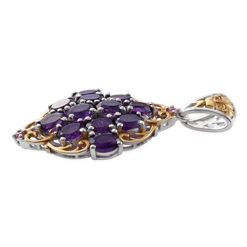 Lusaka Amethyst (Ovl), Pink Sapphire Pendant in Platinum and Yellow Gold Overlay Sterling Silver 3.750 Ct.