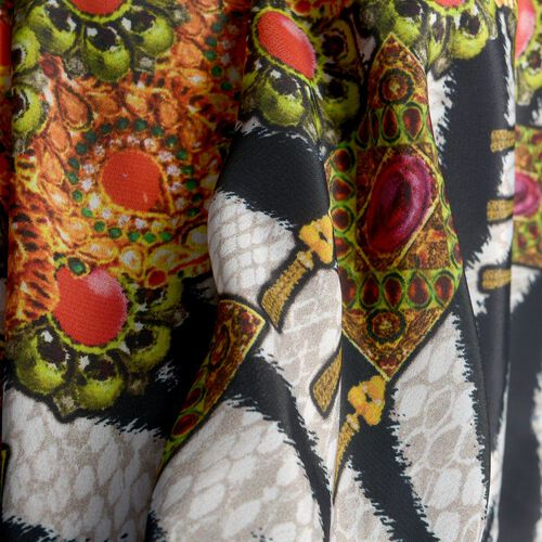 Black, Orange and Multi Colour Zebra and Necklace Digital Printed Kaftan (Free Size)