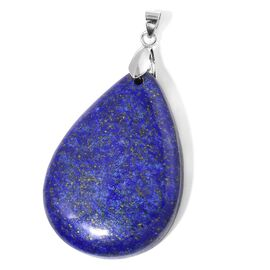 Lapis Lazuli Tear Drop Pendant in Rhodium Plated Sterling Silver 135.000 Ct.