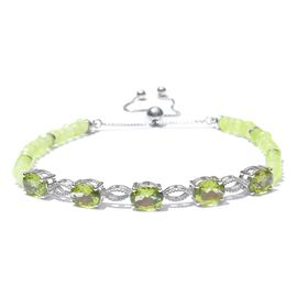 Hebei Peridot (Ovl) Adjustable Bracelet (Size 6.5 to 8) in Platinum Overlay Sterling Silver 16.000 Ct.
