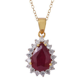 African Ruby (Pear 3.83 Ct), Natural Cambodian White Zircon Pendant With Chain in Rhodium and Gold Overlay Sterling Silver 4.500 Ct.