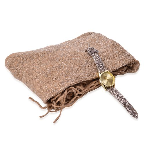 Golden and Silver Sparkle Scarf and Watch Set