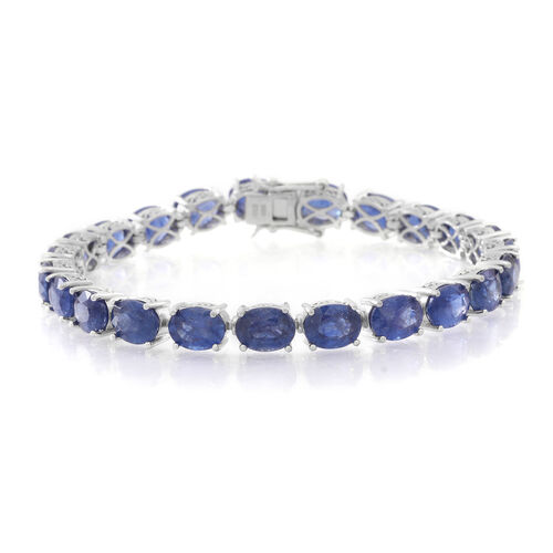 TJC Special Deal-Masoala Sapphire (Ovl) Bracelet (Size 7.5) in Rhodium Plated Sterling Silver 42.000 Ct. Silver wt. 14.00 Gms.