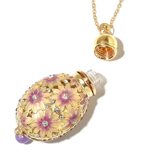 Turkish Style Perfume Bottle Floral Necklace (Size 27) with Multi Colour Crystals in Yellow Gold Tone
