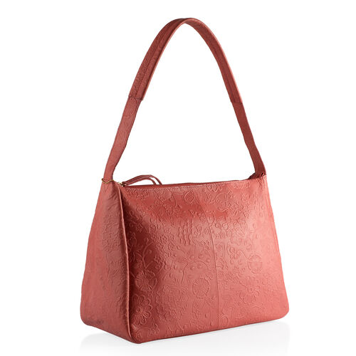 Genuine Leather RFID Blocker Flower Pattern Red Colour Handbag with External Zipper Pocket (Size 36X28X16 Cm)