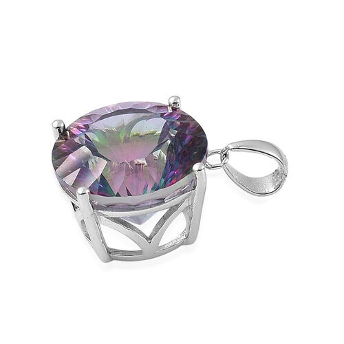 Coated Mystic Topaz (Rnd) Pendant in Rhodium Plated Sterling Silver 12.000 Ct.