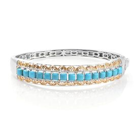 Designer Inspired-AA Arizona Sleeping Beauty Turquoise (Sqr) Bangle (Size 7.5) in Platinum and Yellow Gold Overlay Sterling Silver 3.250 Ct.Silver Wt 27.95 Gms