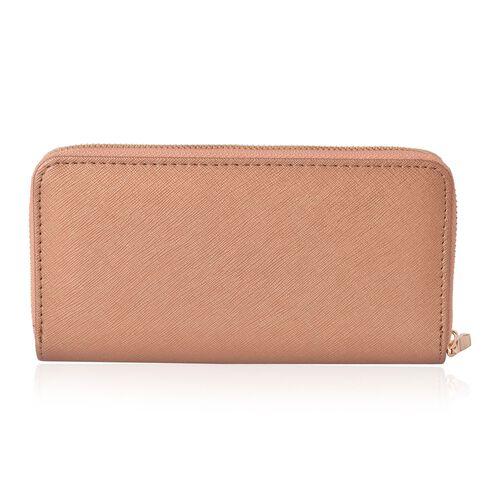 Cutout Design Metal Adorned Bronze Colour Ladies Wallet with Multiple Card Slots (Size 19.5X9.5X3 Cm)