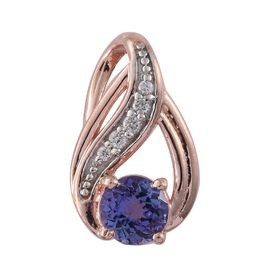Tanzanite, Natural Cambodian Zircon 0.96 Ct Silver Pendant in Platinum and Rose Gold Overlay