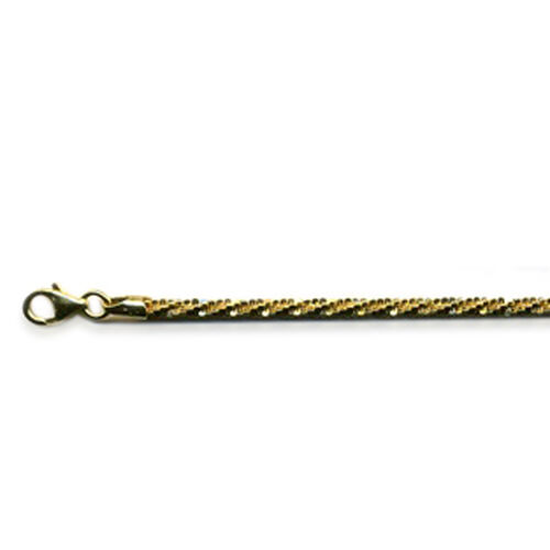 Vicenza Collection 14K Gold Overlay Sterling Silver Twisted Rock Chain Bracelet (Size 7.5), Silver wt 3.30 Gms.