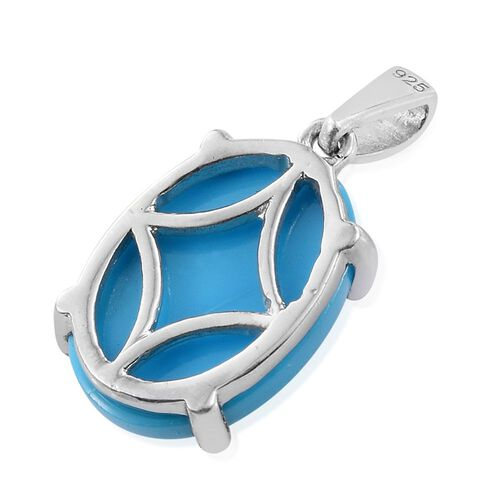 Arizona Sleeping Beauty Turquoise (Ovl) Solitaire Pendant in Platinum Overlay Sterling Silver 5.000 Ct.