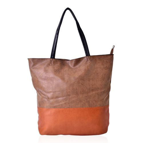 Tan Colour Block Large Carryall Tote Bag (Size 43x38x31x14.5 Cm)