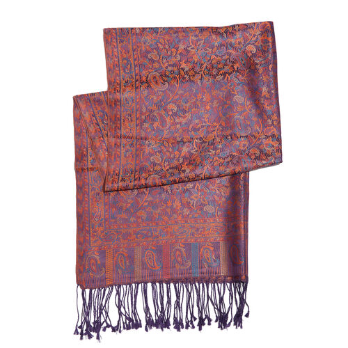 SILK MARK - 100% Superfine Silk Orange, Purple and Multi Colour Jacquard Scarf with Fringes (Size 180x70 Cm) (Weight 125 - 140 Grams)